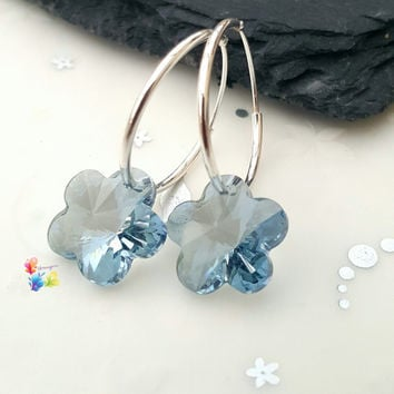 Ice Blue Lagoon Flower Earrings, Sterling Silver Earrings, Crystal Jewellery, Gift for Her, Flower, Crystal Earrings,  girlfriend