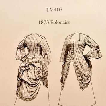 1800s Polonaise Costume Pattern TV410 Truly Victorian Sewing Patterns 1873 Overdress Basque Back Pleated Bell Sleeves Bust 30 to 50 Uncut
