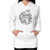 Diving Killer Whale Tattoo in Grey Hoodie (on woman)