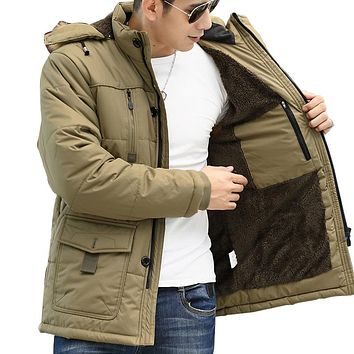 1.4KG Thicken Winter Men's Parka Jacket 2016 Brand New Wool Liner Hooded Park Coat Men Army Military Casual Jacket Plus Size 5XL