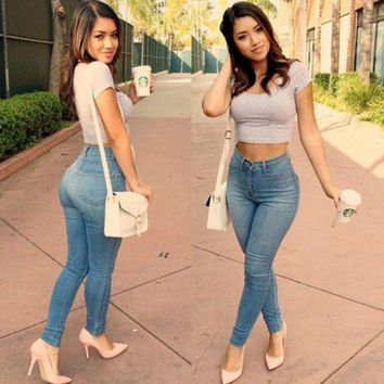 LMFHQ9 New Sexy Women Denim Skinny Pants High Waist Stretch Jeans Slim Pencil Trousers
