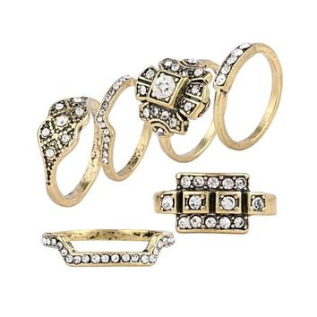 Gold Ring Natural Style Austrian Crystal 6 pcs Set