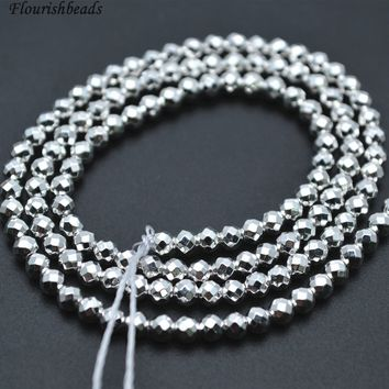 2mm~10mm High Quality Faceted Silver color Hematite Round Loose Beads Jewelry Supplies