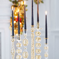 Gold & Glitter Collection Glass Candlestick, Large
