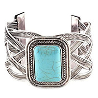 Turquoise Rectangle Braided Bracelet Silver Tone Howlite Cuff BC55 Fashion Jewelry