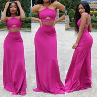 Rose Halter Crop Top Maxi Skirt Set