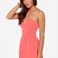 LULUS Exclusive Notch Landing Coral Pink Strapless Dress