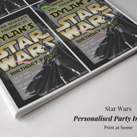 Personalised Star Wars Birthday Party Invitations. Star Wars Darth Vader Invites. Star Wars Party *Printable*. Star Wars Birthday Party.
