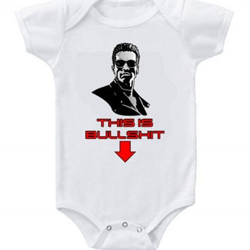 Cute Funny Terminator Baby Bodysuits One Piece Arnold This is BS