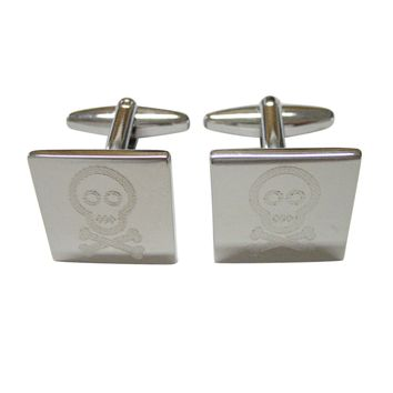 Silver Toned Etched Shy Skull with Crossbones Cufflinks