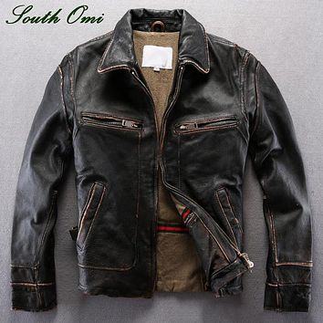 Vintage Men's Distressed Calfskin Leather Jacket Leather Skin Blazer High Quality Coat Jacket Winter Shearling Pilot