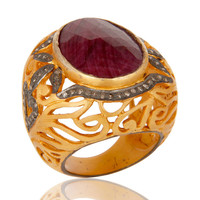 18K Yellow Gold Over Sterling Silver Pave Set Diamond and Ruby Ring Dome Ring