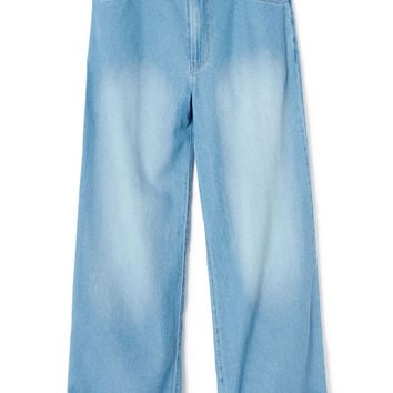Blue Chambray Wide Leg Trousers by Polder