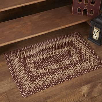 Burgundy Tan Collection Jute Rugs - Rectangle