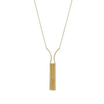 14K Yellow Gold Geometric Fringe Necklace