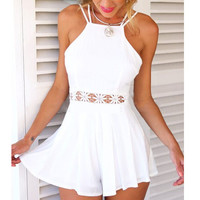 White Backless Strappy Lace Accent Romper