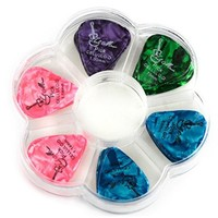 Guitar Picks in Handy Holder Case (Tanbi Music P201): 50 Assorted Celluloid Medium and Heavy Guitar Picks