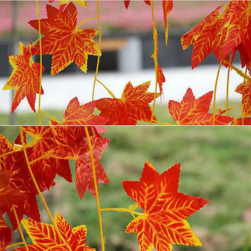 Artificial Red Leaf Garland Plant Vine Fake maple leaves Foliage Flower New 3C