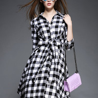Black Plaid Tie Waist Shirt Collar  Half Sleeve A-Line Midi Dress