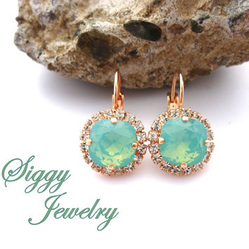 Pacific Opal Cushion Cut Halo Earrings, Made With Swarovski Elements, Rose Gold or Rhodium Finish, Lever Back, Siggy Jewelry, FREE SHIPPING