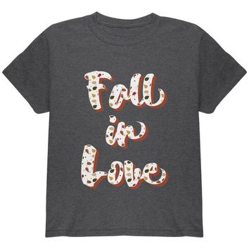 DCCKU3R Autumn Fall in Love Leaves Pattern Youth T Shirt