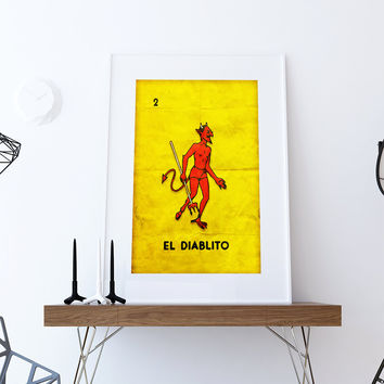 Loteria El Diablito Mexican Retro Illustration Art Print Vintage Giclee on Cotton Canvas and Paper Canvas Poster Wall Decor