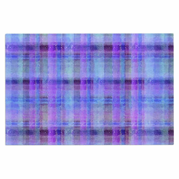 "Carolyn Greifeld ""Watercolor Blue Plaid"" Purple Pattern Decorative Door Mat"