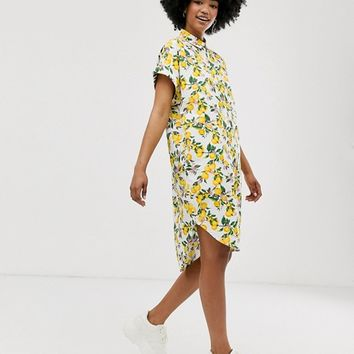 Monki lemon print shirt dress in white | ASOS