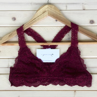 A Lace Cross Back Bralette in Wine