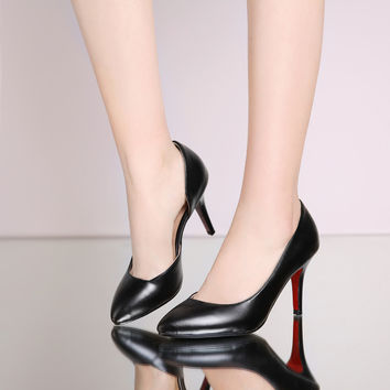 PU Pointy Toe High Heel Pumps