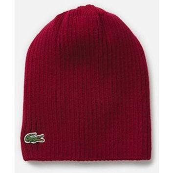Lacoste Mens Wool Knit Ribbed Beanie Hat in Andrinople RB3504