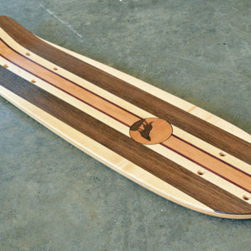"22 inch Mini Penny kicktail Skateboard ""Honolua Bay"" with wolf inlay, deck only"