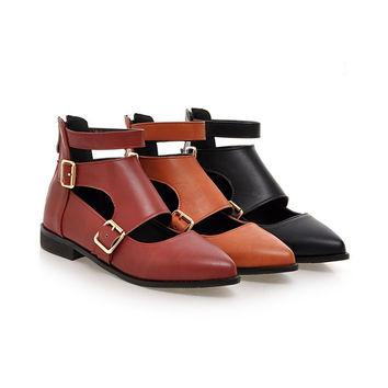 Pointed Toe Buckle Hollow Out Women Flats 3228