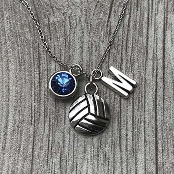 Personalized Volleyball Necklace- Letter & Birthstone Charm