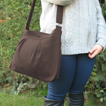 Small and Sweet, Teen girl, Purse,Dark Brown, Pleated, Canvas, Shoulder bag, Croosbody, Women Accessories, High quality, gift for her/zipper