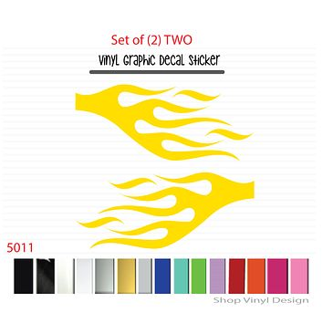 Flames Vinyl Graphic Decal Sticker  - STYLE F5011 - Set of (2)