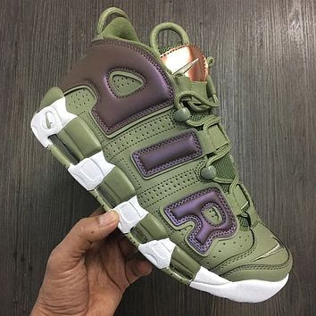 Nike Air More Uptempo New Fashion Letter Hook Sports Leisure Shoes Army Green