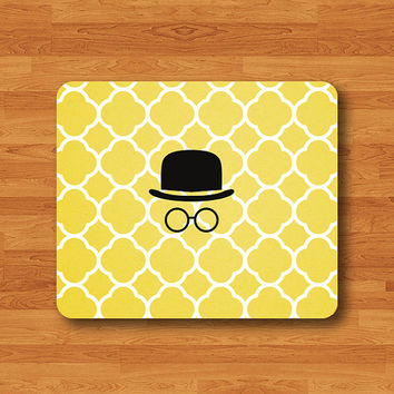 SPY GUY Cartoon Detector Moroccan Mouse Pad Cute Yellow Art Pattern MousePad Drawing Work Pad Office Decoration Custom Minimal Gift Rubber