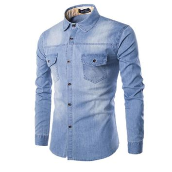 High Quality Men's Slim Denim Shirts New Plus Size M-6XL Fashion Casual Wash Blue Long-sleeved Cargo Jeans Shirts Male Clothing