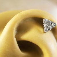 Sparkly Triangle Cartliage Earring Tragus Conch Helix Piercing