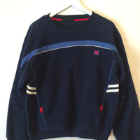Vintage 80s WILSON Terry Cloth Blue Pullover Crewneck Size XLarge