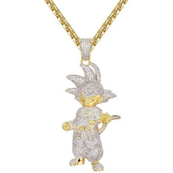 Men's Iced out Cartoon Character Super Goku Pendant