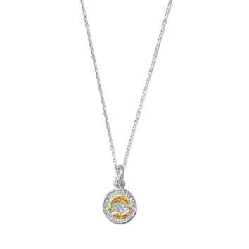 PISCES Rhodium Plated Two Tone Zodiac Necklace