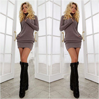 Spring Fall Casual Long Sleeves Package Hip Short Sweater Dress