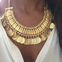 Gold Coin Gypsy Boho Necklace