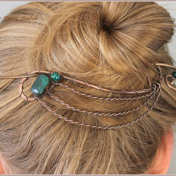 Bun Holder, Copper, Hair Slide, Large Hair Pin, Hair Barrette, Hair Stick, Green Beads Stones, Wire, Hair Accessories, Twisted Wire Waves