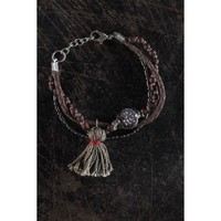 Multilayered Bracelet with Grey Tassel and Coin Charm