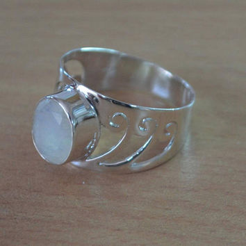 Rainbow Moonstone Gemstone Ring,Faceted Moonstone Ring,Solid 925Sterling Silver Ring,June Birthstone Ring,Gift Ring All Ring Size Available