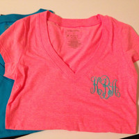 Women's Monogrammed Vneck tees  by brooklynbelleboutiq on Etsy