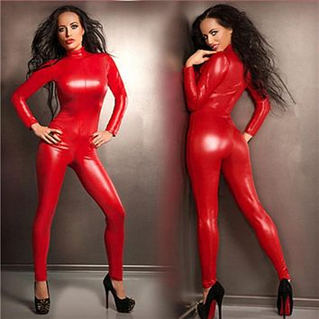 Fresh Sexy Red Latex Catsuit Faux Leather Jumpsuit Bodycon Stretchy Jumpsuit Clubwear Leotard Fantasia Latex Costumes For Women